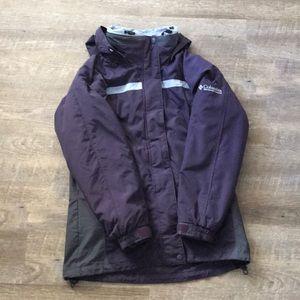 Columbia purple interchangeable core winter jacket